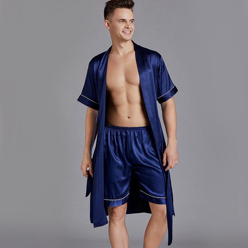 2PCS Satin Silky Nightwear Men Summer New Oversize 3XL Sleepwear Robe&Shorts Set Intimate Lingerie Casual Kimono Robe Gown