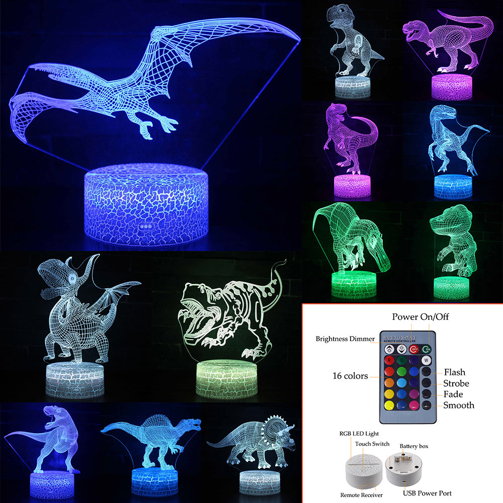3D LED Night Light Dinosaur Series 7/16 Color Remote Touch Control Baby Sleep Table Lamp Home Decor Kids Xmas New Year Gift D30