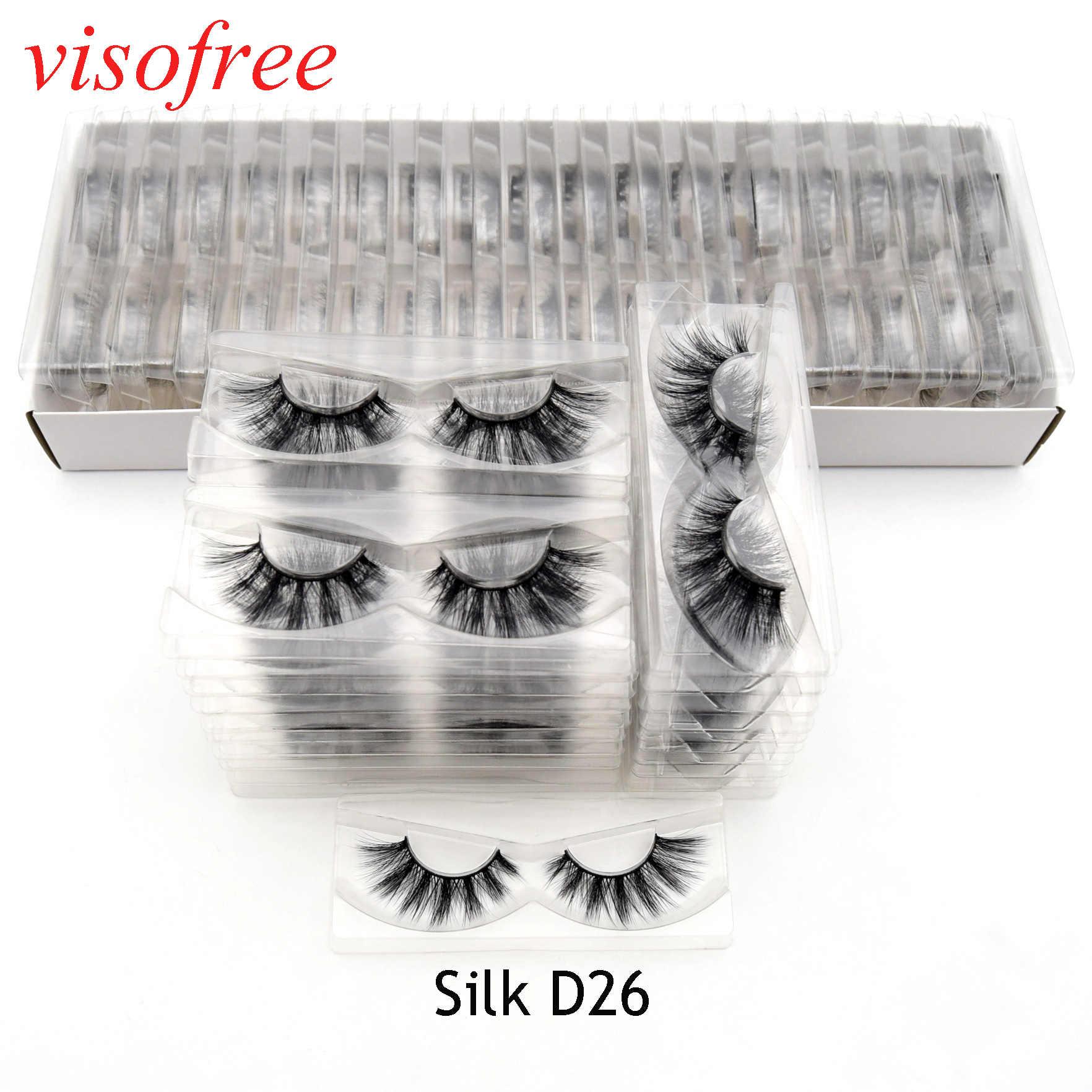 Visofree 30 пар/лот 3D Искусственные Шелковые ресницы крылатые шелковые ресницы бескровные многоразовые ресницы для глаз Высокое качество Silk-D26