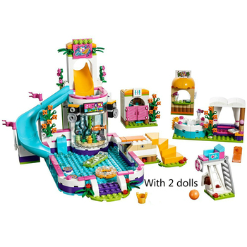 Building Blocks The Heartlake Summer Pool Bricks Figure Toys for Children Compatible Lepining Friends with 2 Dolls waz compatible with lego friends 41150 25003 322pcs building blocks moana s ocean voyage bricks figure toys for children