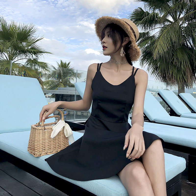 Photo Shoot Backless Strapped Dress Beach Skirt Seaside Dress Slimming Women's Summer Thailand Holiday Base Black