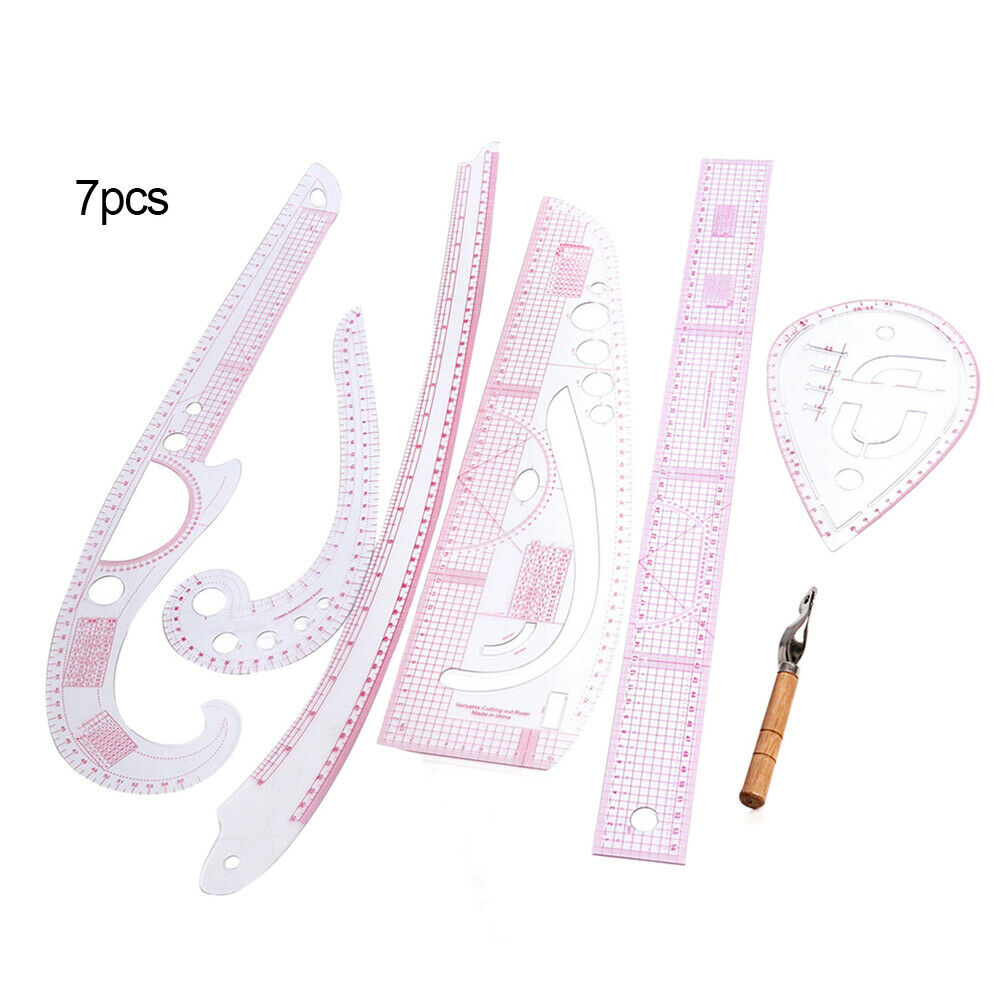 7Pcs Plastic French Curve Metric Sewing Clothes Ruler Measure For Dressmaking Tailor Grading Curve Rule Pattern Making