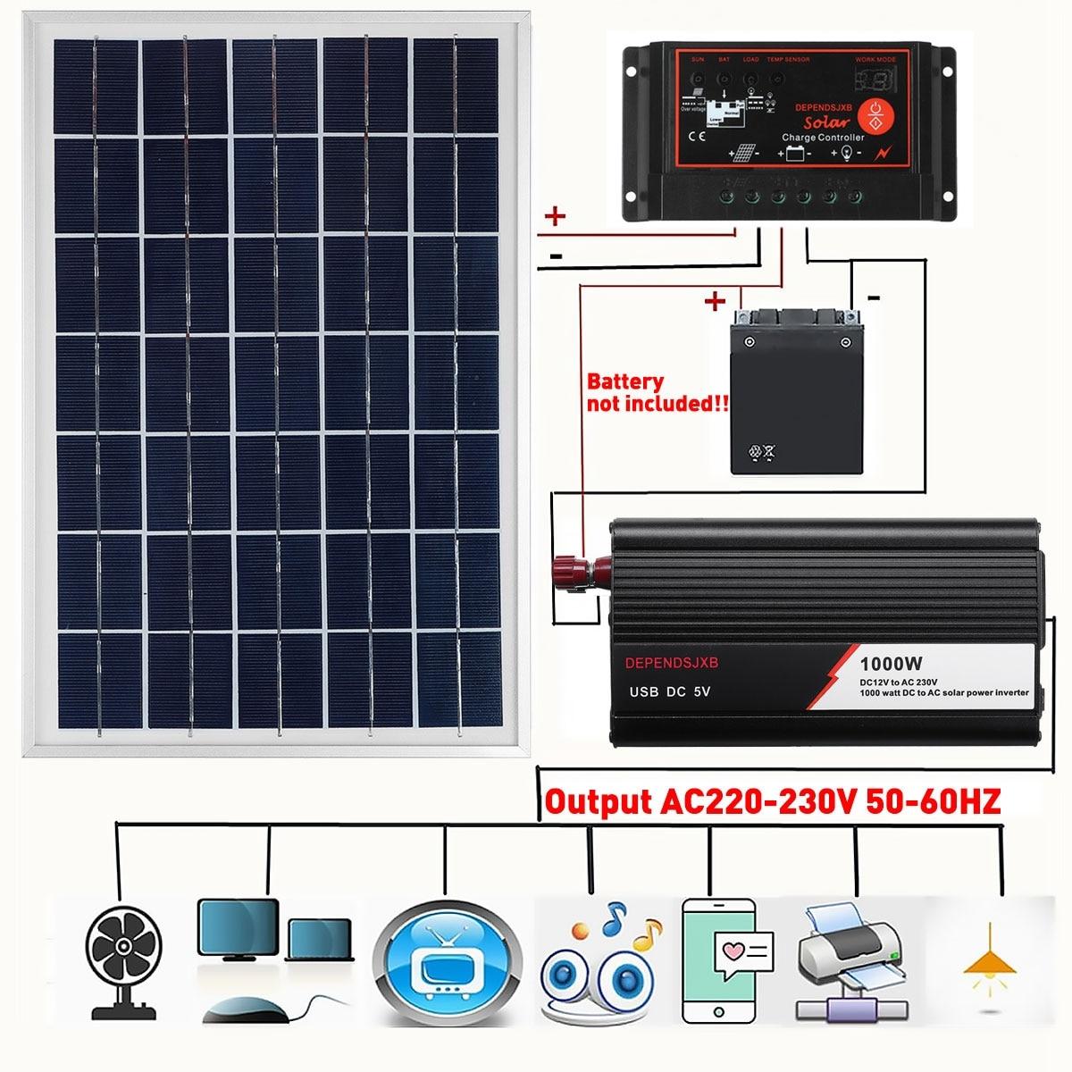Sistema de Panel Solar 18V 20W Panel Solar 12V/24V 40A/50A/60A controlador de carga Soalr 1000W inversor Solar generación de potencia Solar