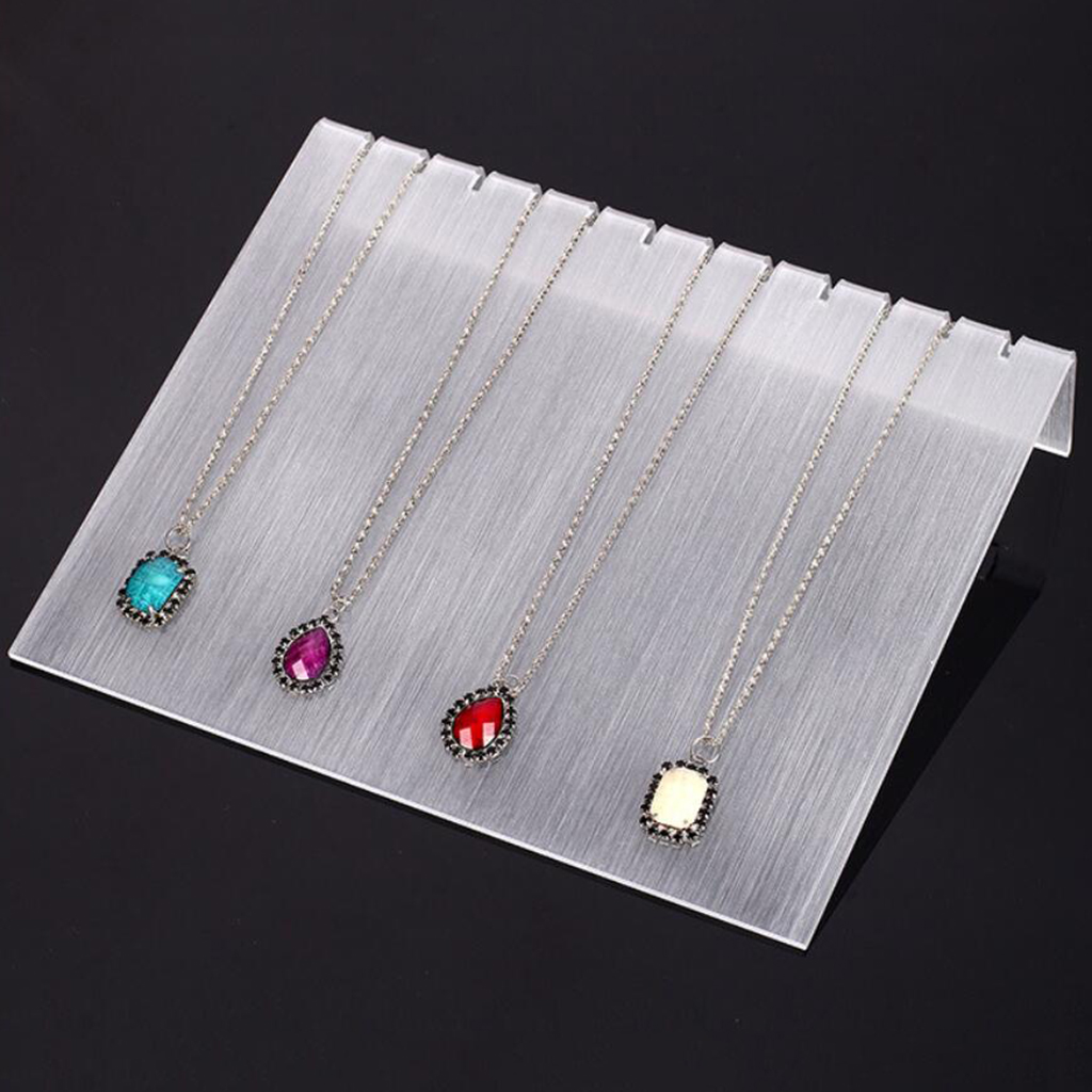 Acrylic 12 Slots Necklace Chain Display Stand Jewelry Shelf Showcase Slant Rack Shows Exhibition