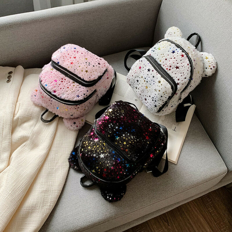 Newest Fashion Women Mini Backpack Girls School Bags Small Travel Hot Sale Stars Glitter Shoulder Bag