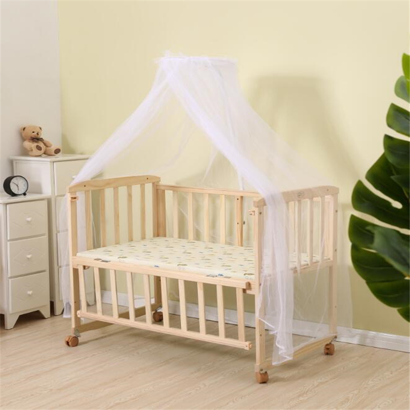 Multifunctional Wooden Baby Sleep Crib With Roller Movable Baby Bed Cradle + Children's Desk 0-2 Year Kids Bed With Mosquito Net