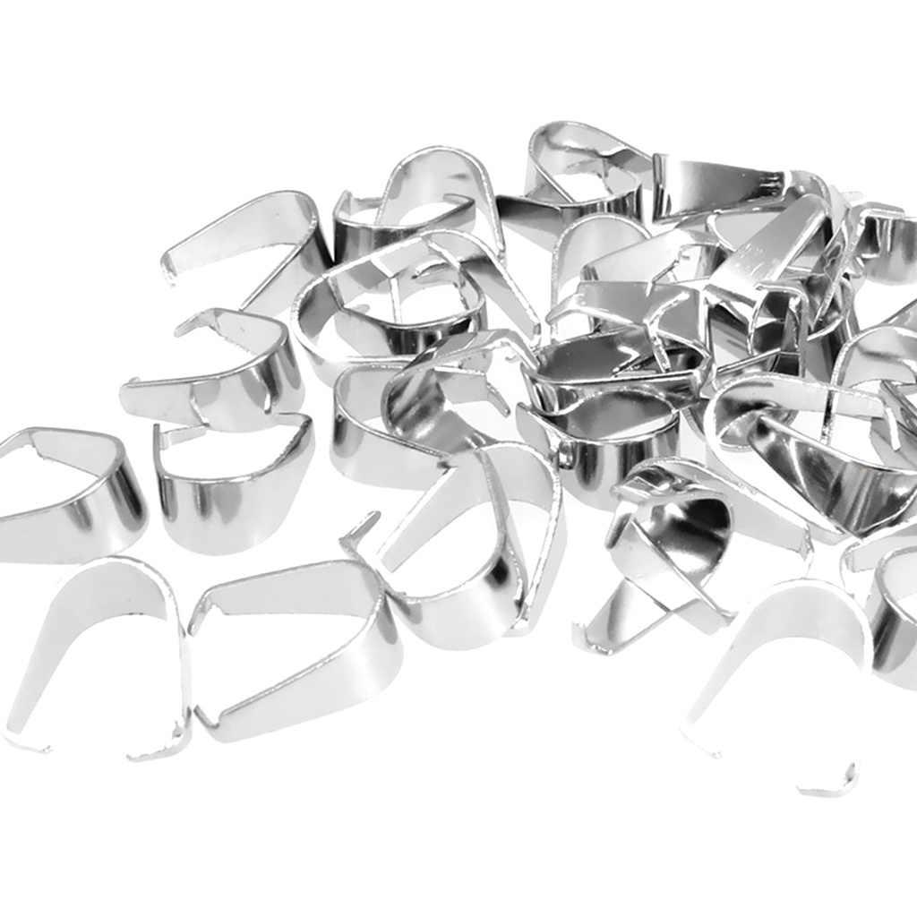 100 ชิ้นโลหะเงินจี้ Pinch Bails สำหรับ DIY เครื่องประดับทำสร้อยคอ 9mm