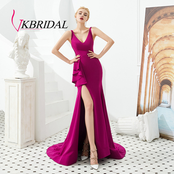 Vkbridal Sexy High Slit Mermaid Prom Dresses Long Deep V-neck Backless Evening Dress with train 2020 New Arrival Party Gowns