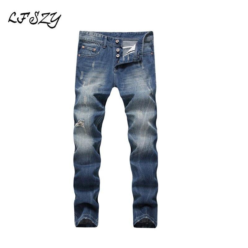 Jeans Men 2019 New Men's Jeans Men's Shredded Light Blue Straight Large Size Denim Pants More Sizes 29-40 42 44