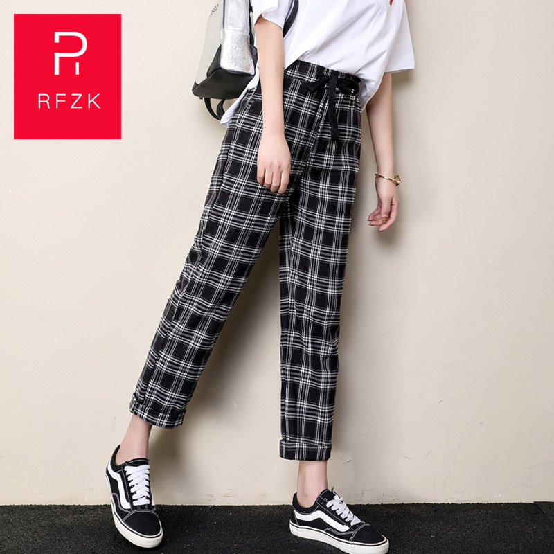 Rfzk 2020 Cotton Straight Plaid Women's Pants Ankle-Length Capris Casual Mid Waist TrousersWomen's Loose Straight Harem Pants