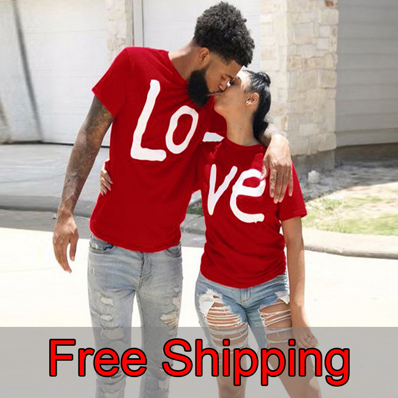 Couple T shirt Summer Couple LOVE Printed Clothes Couple Tshirt Christmas Casual Cotton Short Sleeve Tees Brand Loose Couple Top|T-Shirts| - AliExpress