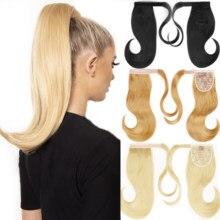 MERISIHAIR отскок обертывание конский хвост куски волос Синтетические прямые волосы удлинители с расчески основной хвост для женщин