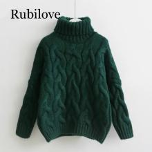 Rubilove Women Turtleneck Sweaters Autumn Winter 2019 Pull Jumpers European Casual Twist Warm Female oversized sweater