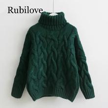 Rubilove Women Turtleneck Sweaters Autumn Winter 2019 Pull Jumpers European Casual Twist Warm Female oversized sweater