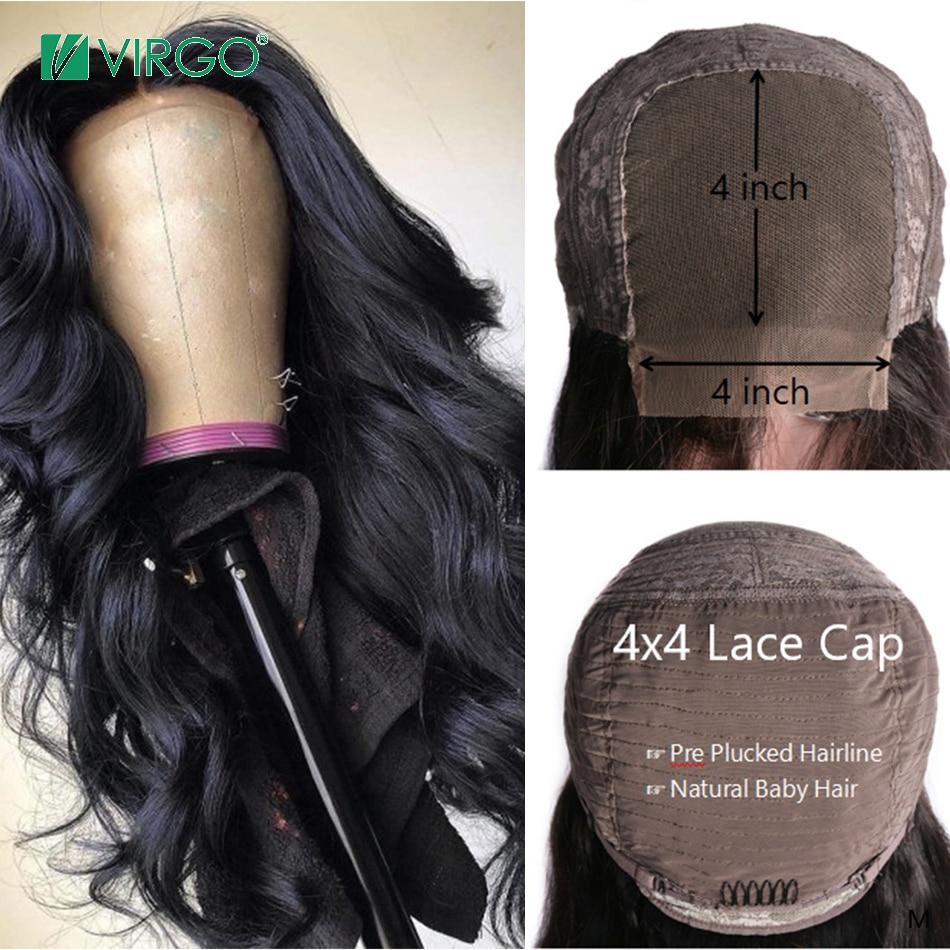 Дева объемная волна 4x4 кружева закрытие парик с волосами младенца волосы перуанские человеческие волосы парики для чернокожих Для женщин