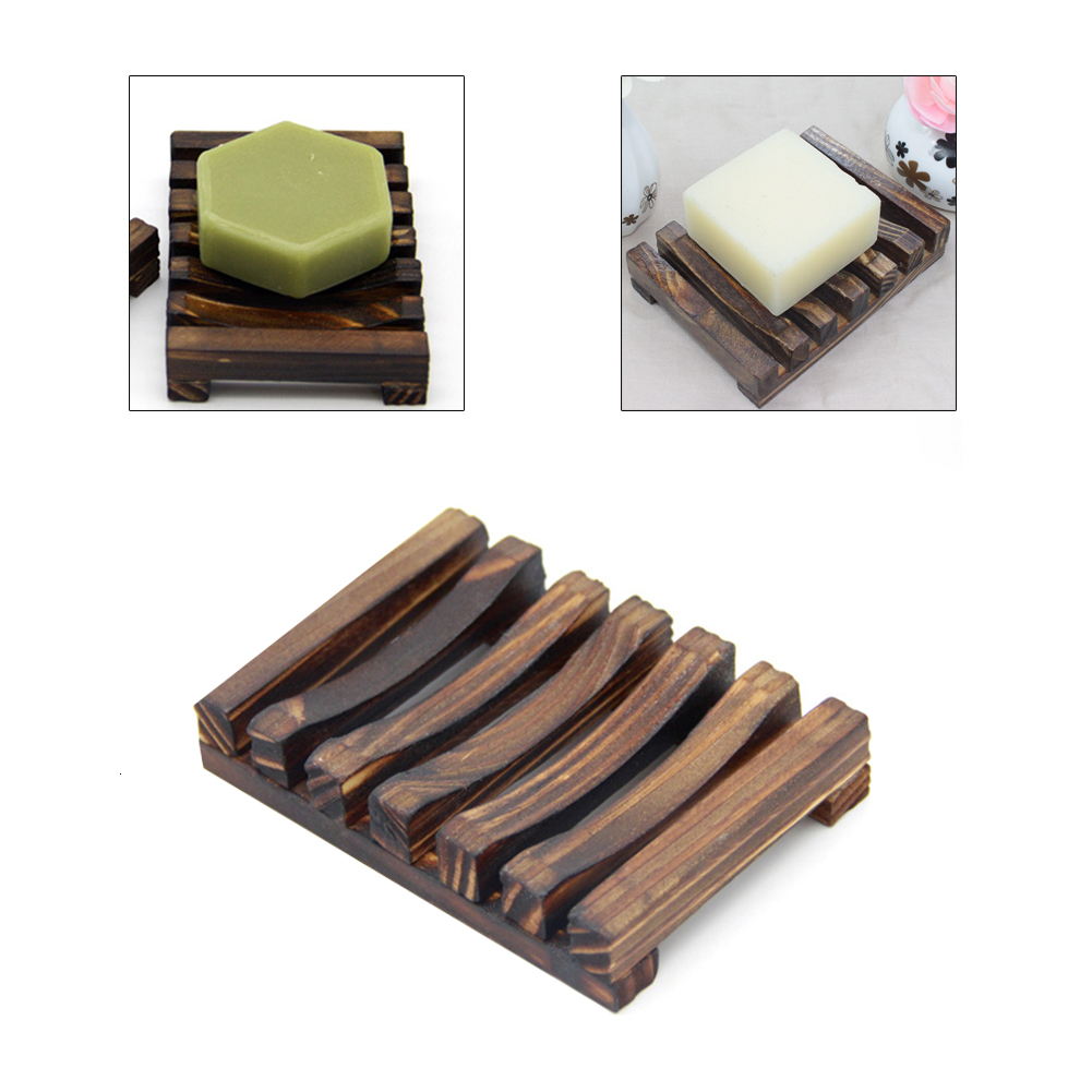 Wooden Natural Bamboo Soap Dishes Tray Holder Storage Soap Rack Plate Box Container Portable Bathroom Soap Dish Storage Box 5