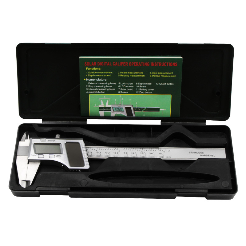0 150mm 6 quot Solar Stainless Steel Digital Display Caliper Metal Micrometer Measuring Depth Measuring Tool LCD Vernier Caliper in Calipers from Tools