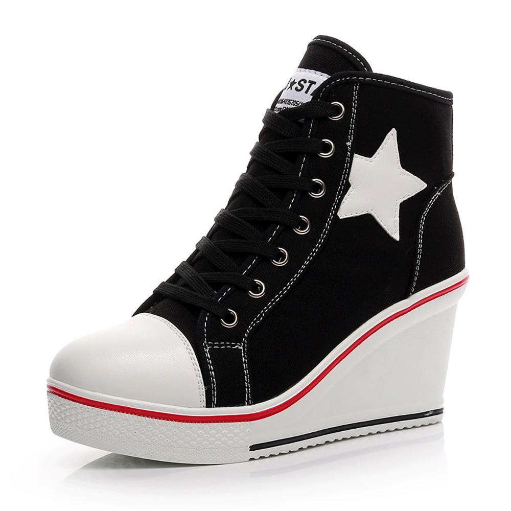 Women Wedges Vulcanize Shoes High Heels Platform Shoes Woman Sneakers Women Casual Trainers Elevator Shoe Canvas Shoes Big Size