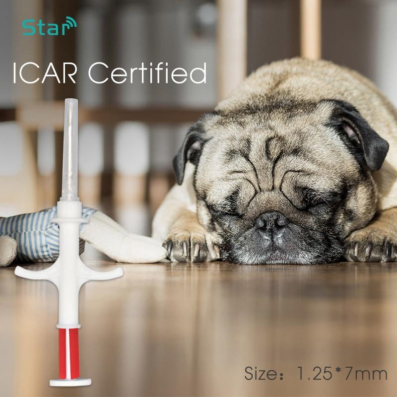 Imported Smallest 1.25x7mm Bioglass Tag 134.2KHz FDX-B Dog Chip Animal Implant  RFID Microchip Injector Vet Syringe Transponder