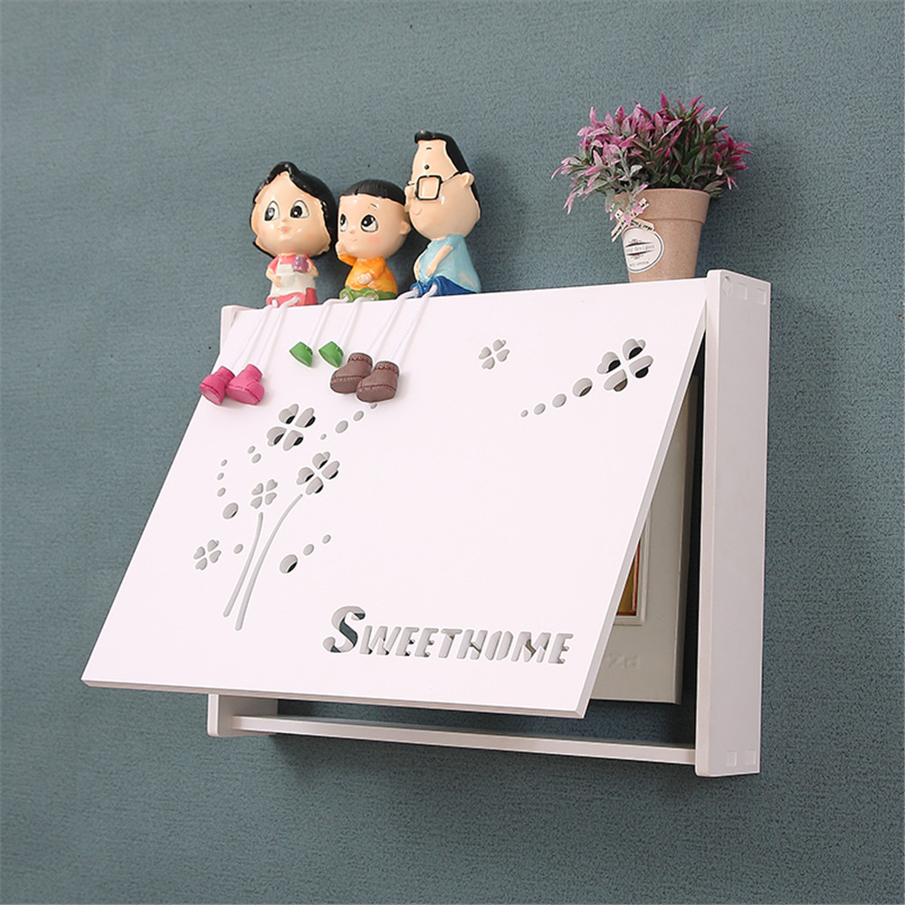 Nordic Flip Style Electric Meter Box Wall Ornament Hollow Frame Cover Home Distribution Box Occlusion White PVC Board Case