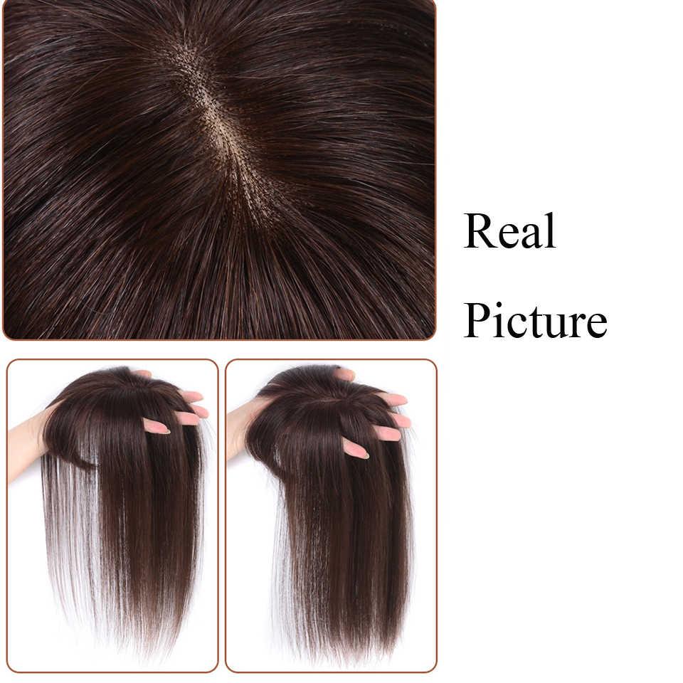 บราซิลผมมนุษย์จริงผู้หญิง Toupee กับ Bangs ตรงวัสดุผมผม HAND-made Topper ผมคลิปผม non-Remy Hair