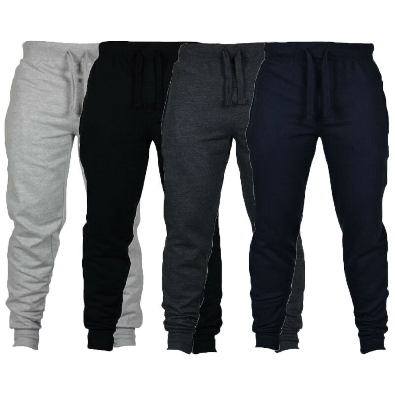 New Arrival High Waist Mens Jogger Pants Sweatpants Fleece Terry Active Gym Lounge Sleep Slim Fit Plus Size S-2XL