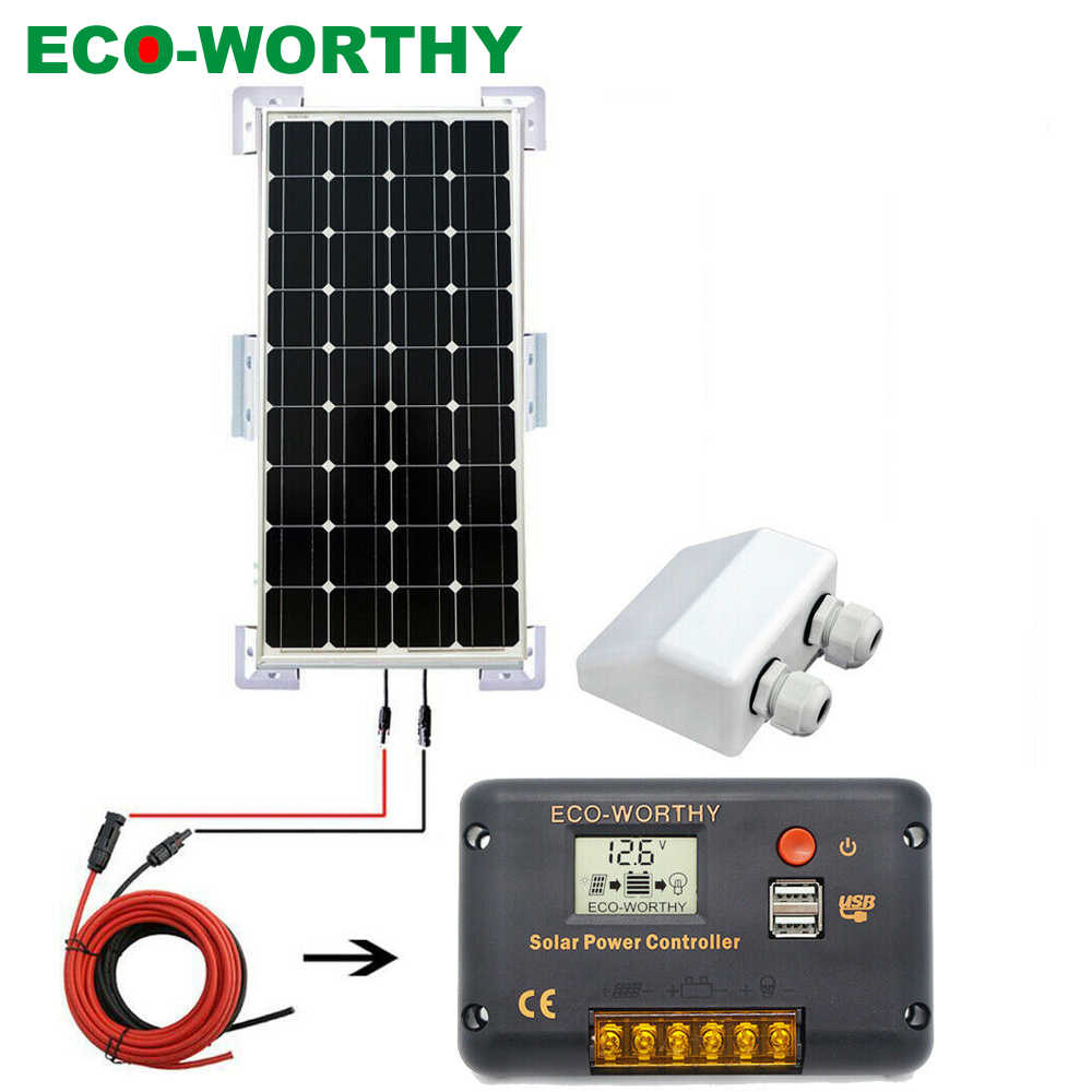 ECOWORTHY 100W Mono Solar Panel Kit Off Grid Kit high power 20A Solar Controller FOR Caravans Boats