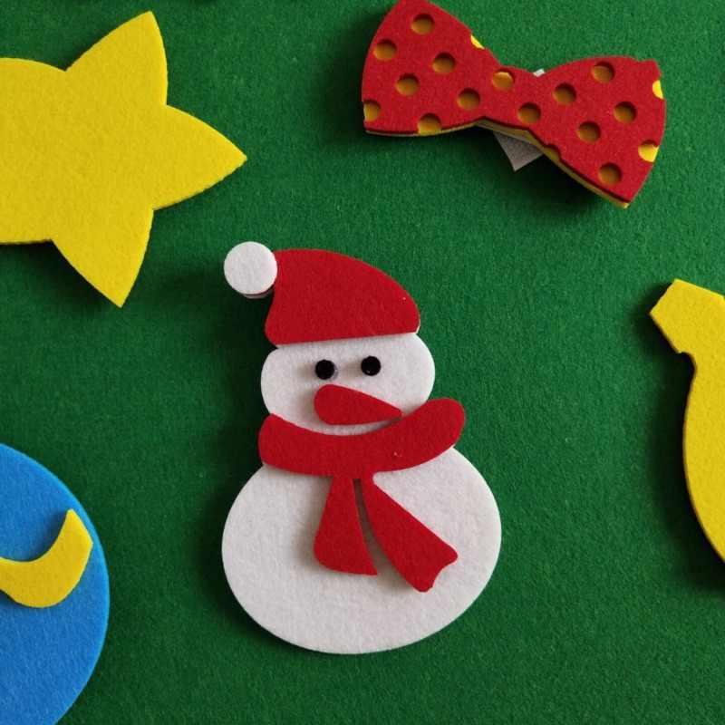 Diy sentiu árvore de natal conjunto kit com 30 pçs ornamentos removíveis sentiu natal ano novo brinquedos decorações decoração para casa