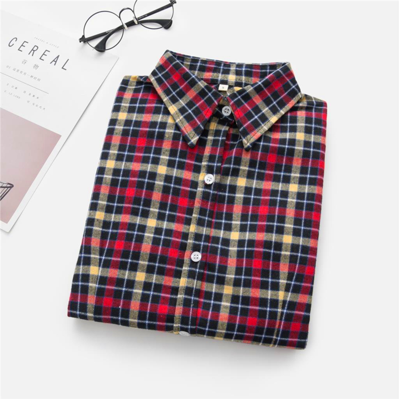 2020 New Women Blouses Brand New Excellent Quality Cotton 32style Plaid Shirt Women Casual Long Sleeve Shirt Tops Lady Clothes 24