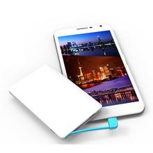 Mini Portable With Charging Cable Phone Power Bank Mobile White 2000mAh powerbank Plastic Micro USB Power
