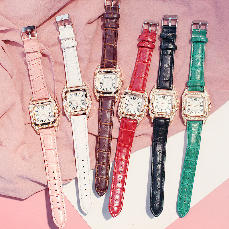 Women Diamond Watch Starry Square Dial Bracelet Watches Set Ladies Leather Band Quartz Wristwatch Female Clock Zegarek Damski 5