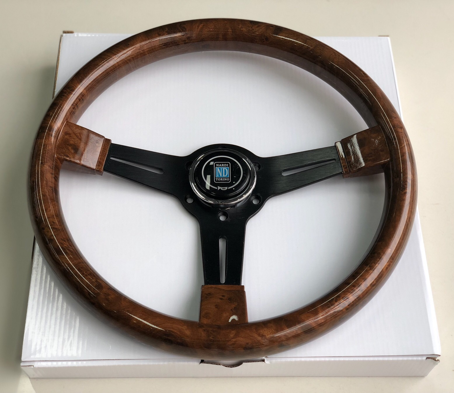 Italy ND 14inch Wooden Look Steering Wheel Drift Sport Steering Wheels title=