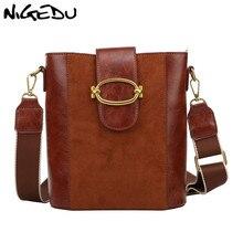 NIGEDU Vintage Matte leather Women Shoulder Bags brand design Wide strap Bucket bag for Female Handbags big bolsa black totes nigedu чистый синий