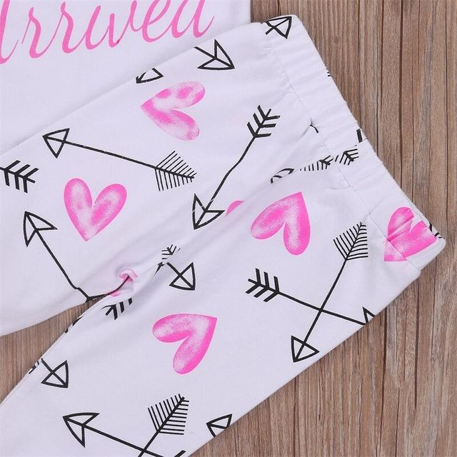 Lovely Girls Princess Baby Cotton Clothes Sets Letter Printed Tops Rompers Arrow High Waist Pants 4PCS Outfits Playsuit Clothes