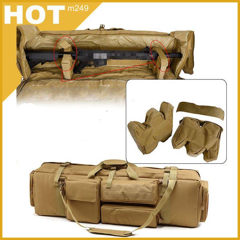 Taktik M249 silah çantası Airsoft askeri avcılık çekim tüfek sırt çantası açık silah taşıma koruma çantası omuz askısı ile