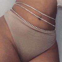 Sexy lettere lucide pendenti catena in vita per donna oro argento colore strass Tennis cintura cintura pancia Bikini gioielli da spiaggia
