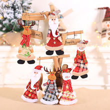 Christmas Plush Ornaments Xmas Hanging Decoration Santa Clause Snowman Reindeer Doll For Tree Pendant Stocking