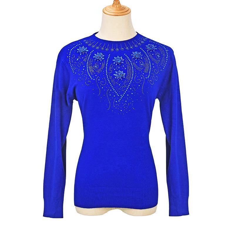 Hot Women Sweater 2019 Embroidered Round Neck Sweater Elasticity Plus Size Pullover  Winter Women's Knitted Tight Shirt WZ158