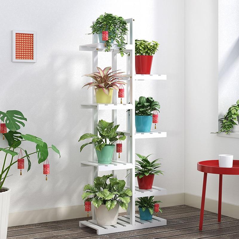 M8 Flower Shelf Multi-storey Indoor Special Balcony Fleshy Green Flower Pot Rack Solid Wood Living Room Simple Floor Rack
