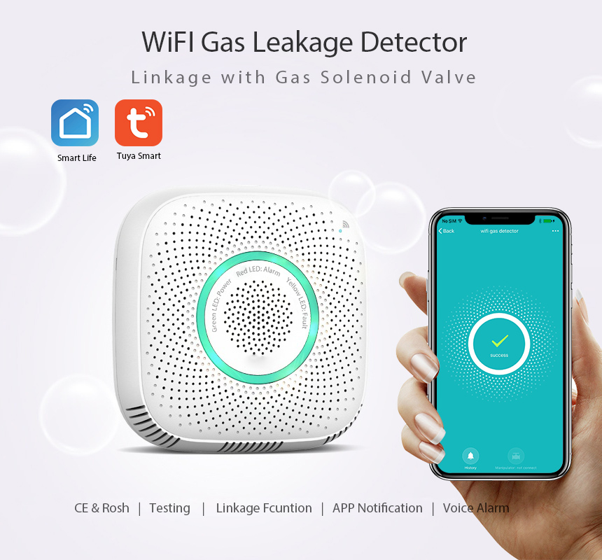 Wifi Smart Gas Detector Natural Gas Alarm Home Security Wireless Gas Sensor Wifi Smart Gas Linkage For Smart Home Support Tuya