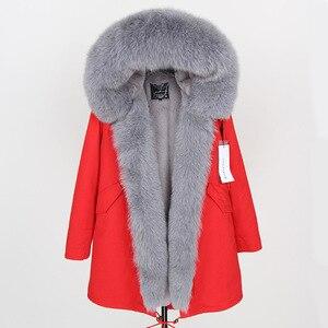 Image 4 - 2019 Donne Cappotto di pelliccia Reale di modo naturale reale della pelliccia di fox del collare allentato lungo parka grande collo di pelliccia della tuta sportiva Staccabile giacca invernale