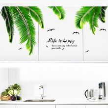 [SHIJUEHEZI] Green Tropical Palm Leaves Wall Stickers Vinyl DIY Plant Mural Decals for Living Room Kitchen Bedroom Decoration
