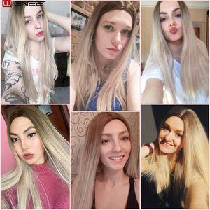 Image 5 - Wignee ארוך ישר שיער התיכון חלק סינטטי פאה עבור נשים Ombre תינוק אפר בלונדינית/ורוד/אדום/חום/כחול טבעי שיער נשי פאה