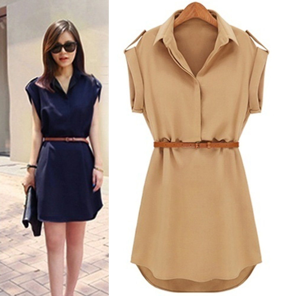 Fashion Chiffon Dress Women Summer Short-sleeved Loose Casual Lapel Collar Shirt Dress With Belt Solid Color Mini Dress