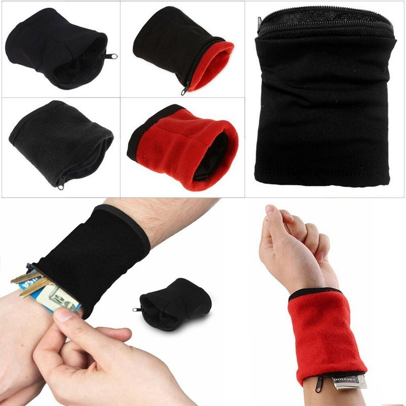Outdoor Wrist Support Cycling Wrist Support Band Wallet Safe Storage Pocket Wallet Zipper Wrist Ankle Wrap Sport Strap Wristband
