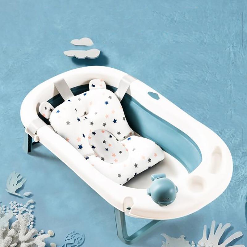 Almofada de banheira para chuveiro de bebê e antiderrapante Tapete de suporte para assento de banheira Segurança para recém-nascidos Almofada de suporte para banheira Travesseiro macio dobrável