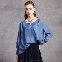 Johnature Women Embroidery Floral Denim T-Shirts Vintage Loose Button O-Neck Long Sleeve 2020 Autumn New Original Female T-Shirt(China)