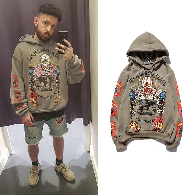 Kanye Skull Hoodies Hoody Mens Streetwear Graffiti Printed Hooded Sweatshirts Hip Hop Pullover Hoodies Male Women