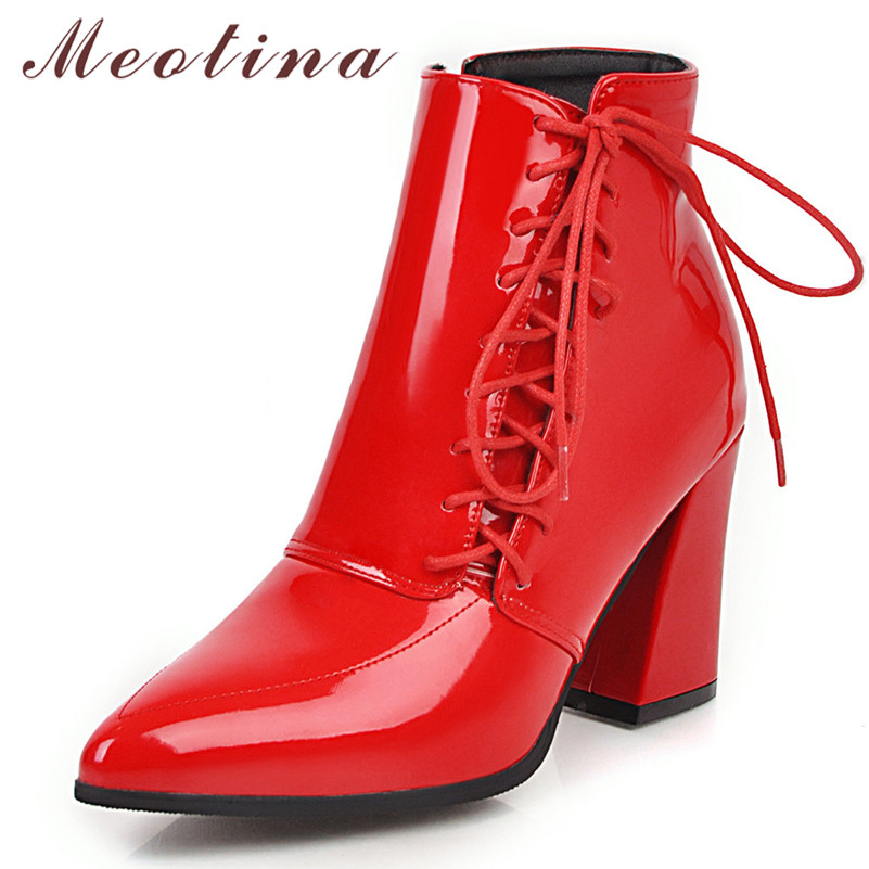 Meotina Winter Ankle Boots Women Patent Leather Square Heels Short Boots Zipper Super High Heel Shoes Lady Autumn Red Size 34-43
