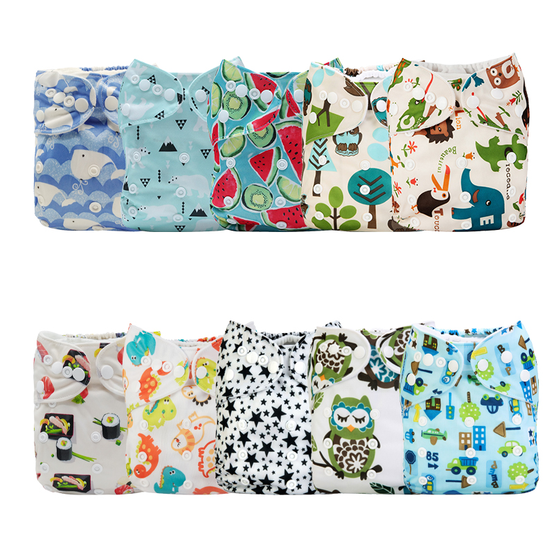 [Mumsbest] 10PCS/Pack Adjustable Baby Printed Cloth Diaper Pocket Printed Waterproof &Washable Nappy Cover Sent Random Color